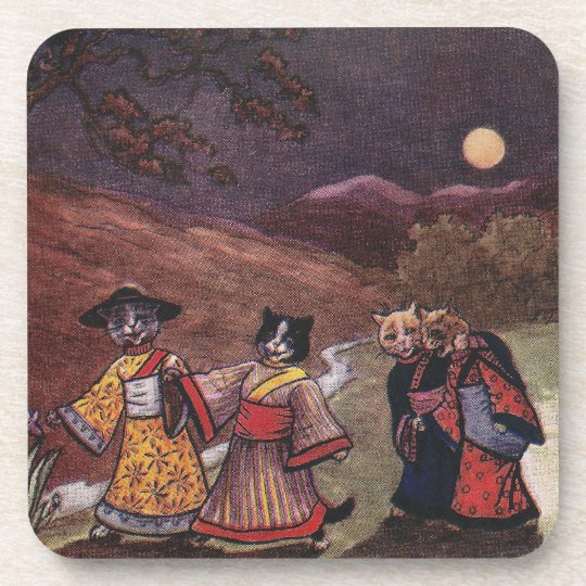 Cats in Kimonos Take Late Night Stroll Beverage Coaster