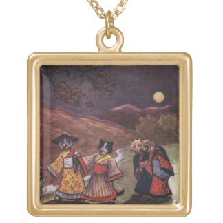 Cats in Kimonos Take Late Night Stroll Gold Plated Necklace