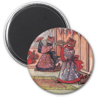 Cats in Kimonos Vintage Louis Wain 2 Inch Round Magnet