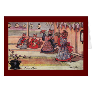 Cats in Kimonos Vintage Louis Wain Card