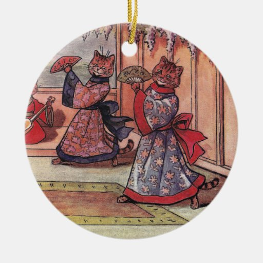 Cats in Kimonos Vintage Louis Wain Double-Sided Ceramic Round Christmas Ornament