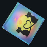 """Cats in Love Bandana<br><div class=""""desc"""">Cats in Love making heart shape with their tails cartoon digital illustration custom template</div>"""