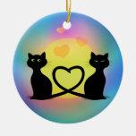 Cats in Love Ceramic Ornament