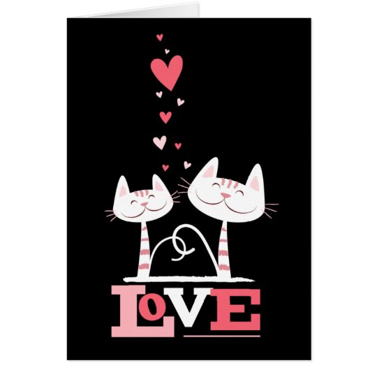 Cats in Love Cute Kitty Valentine (black inside) Card