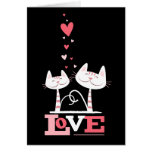 Cats in Love Cute Kitty Valentine (red inside) Greeting Card