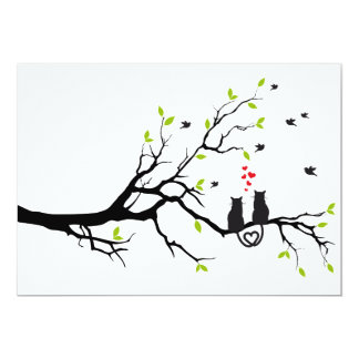 Cats in love on tree with red hearts card