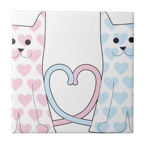 Cats in Love Small Square Tile