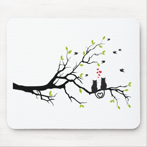 Cats in love with red hearts on spring tree mouse pad