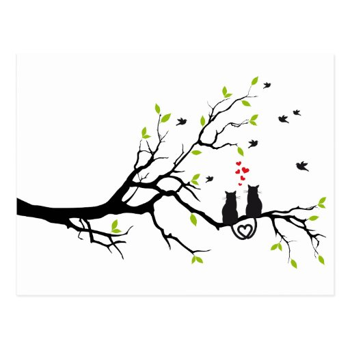 Cats in love with red hearts on spring tree postcards