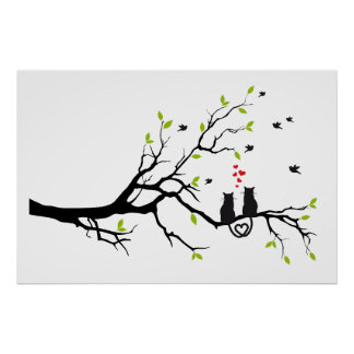Cats in love with red hearts on spring tree poster