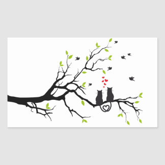 Cats in love with red hearts on spring tree rectangular sticker