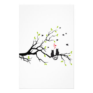Cats in love with red hearts on spring tree stationery