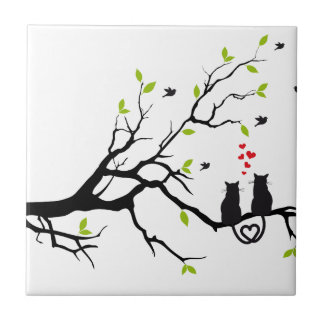 Cats in love with red hearts on spring tree tile