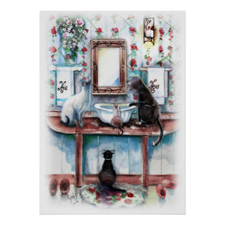 Cats in My Bathroom Print
