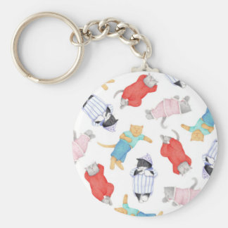 Cats in Pajamas Button Keychain