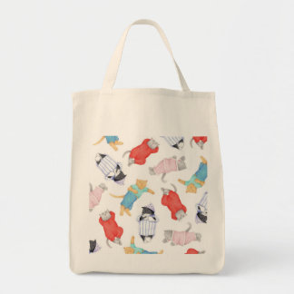 Cats in Pajamas Organic Grocery Tote Canvas Bag