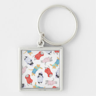 Cats in Pajamas Small Square Premium Keychain