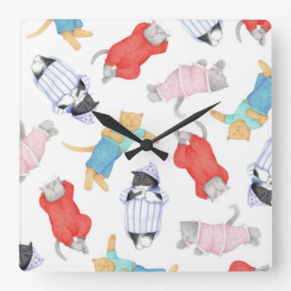 Cats in Pajamas Square Wall Clock