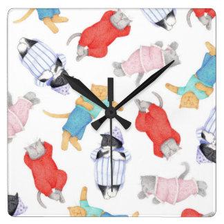 Cats in Pajamas Square Wall Clock