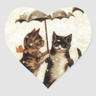 Cats in Snow with Umbrellas Heart Sticker