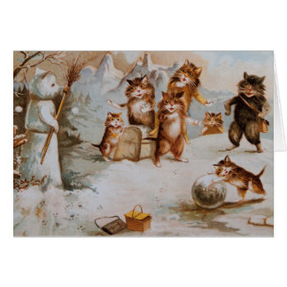 Cats in Snowball Fight Holiday Card