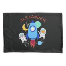 Cats In Space Astronaut Kittens Rocket Ship Pillow Case
