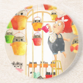 Cats in The Attic Drink Coaster