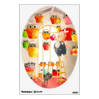 Cats in The Attic Wall Decal