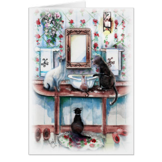 Cats in The Bathroom Card