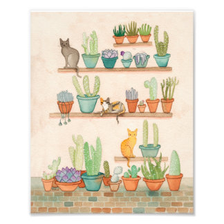 Cats in the Cactus Potting Room Photo Print