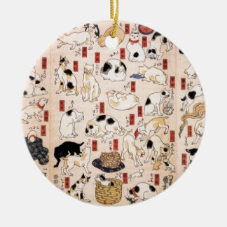 Cats in The Fifty-three Stations of the Tōkaidō Ceramic Ornament
