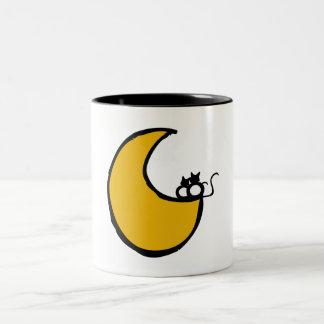 Cats in the Moon Two-Tone Coffee Mug