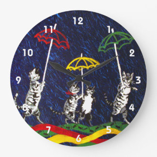 Cats in the Rain Large Clock