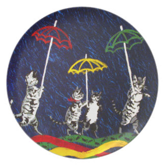 Cats in the Rain Party Plate