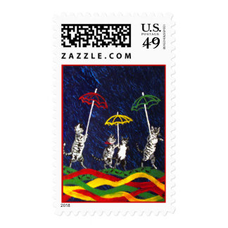 Cats in the Rain Postage Stamps