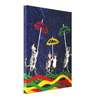 Cats in the Rain Stretched Canvas Prints