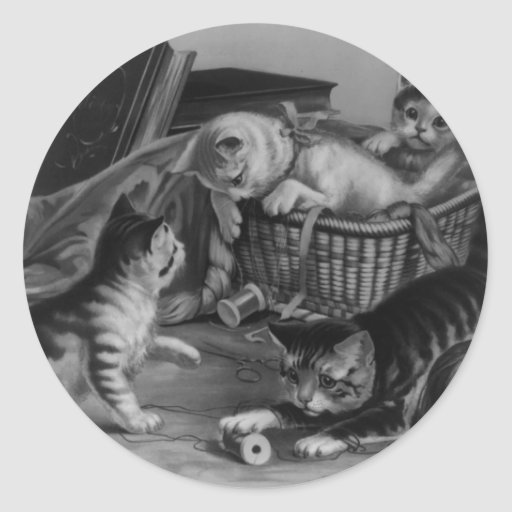Cats in the Sewing Basket Round Sticker