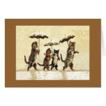 Cats in the Snow With Umbrellas Note Card