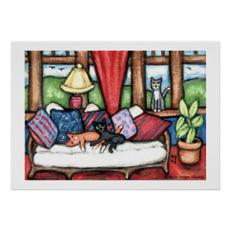 Cats In The Sunroom Art Print