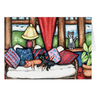 Cats In The Sunroom Greeting Card