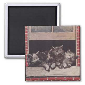 Cats in the Window Vintage 2 Inch Square Magnet