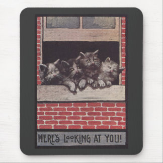 Cats in the Window Vintage Mouse Pad