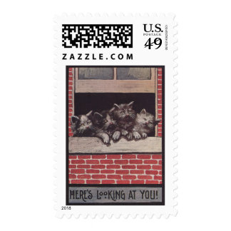 Cats in the Window Vintage Postage Stamp