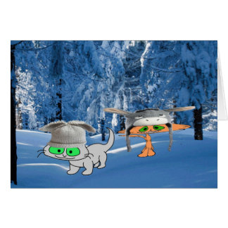 Cats In The Woods With Funny Hats Card