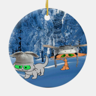 Cats In The Woods With Funny Hats Ceramic Ornament