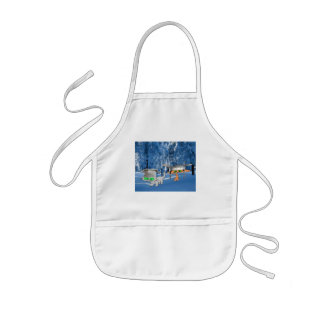Cats In The Woods With Funny Hats Kids' Apron