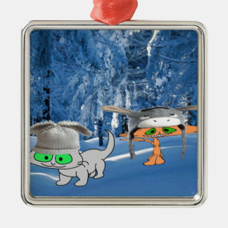 Cats In The Woods With Funny Hats Metal Ornament