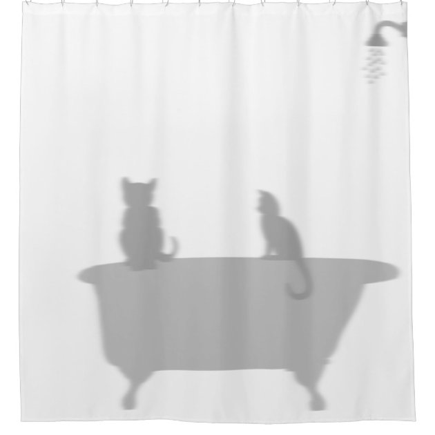 Cats In Tub Shower Silhouette Shadow Funny Shower Curtain Zazzle Com