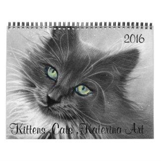 Cats , Kittens ,2016 Calendar KaterinaArt