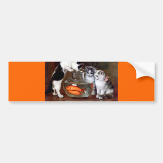 Cats Kittens Fishing in a Fish Bowl painting Bumper Sticker